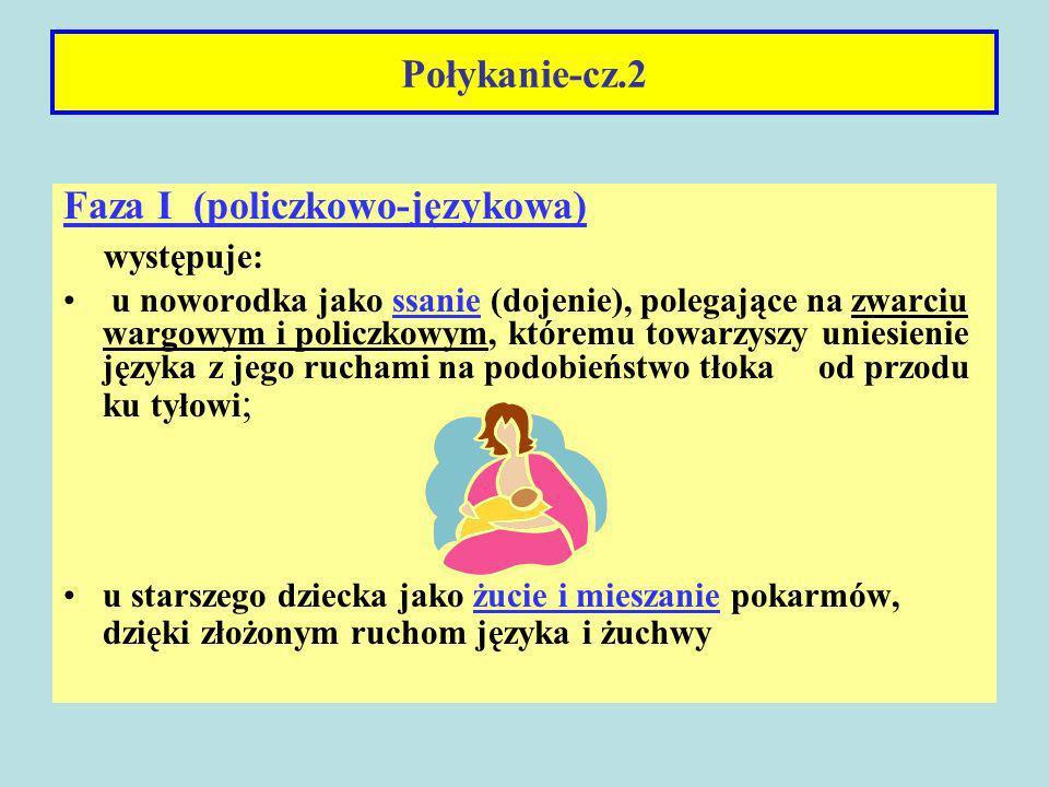 Faza I (policzkowo-językowa) występuje: