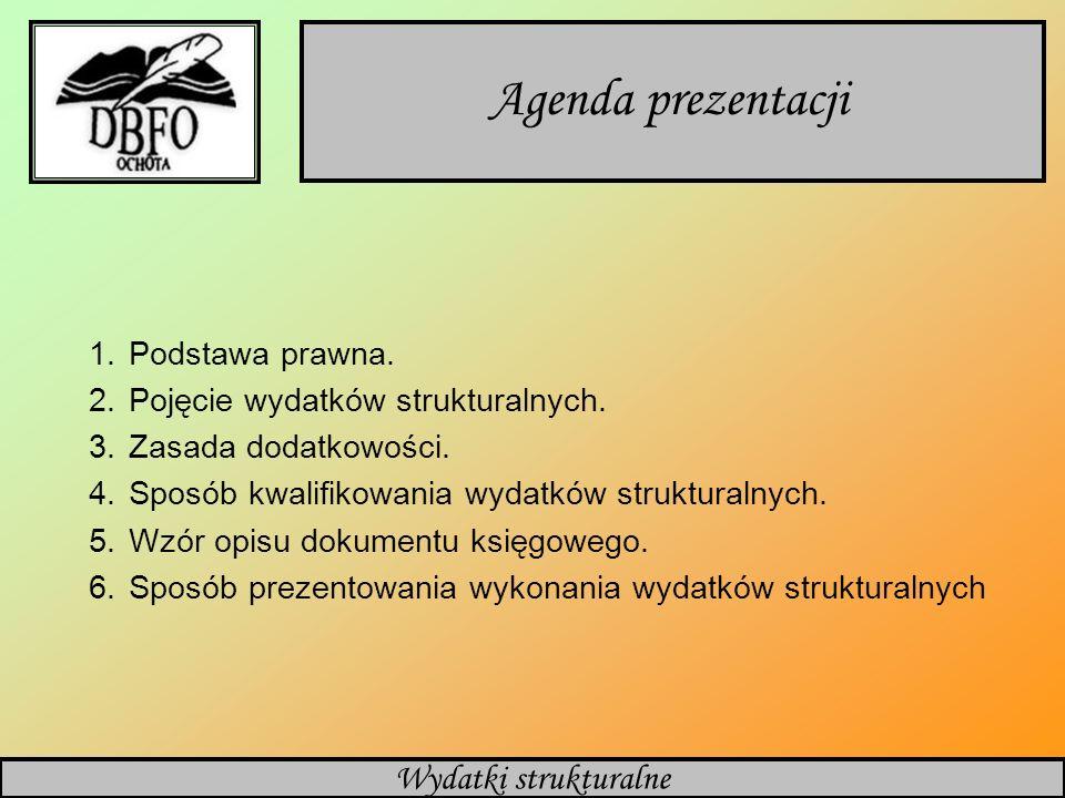 Agenda prezentacji Wydatki strukturalne Podstawa prawna.