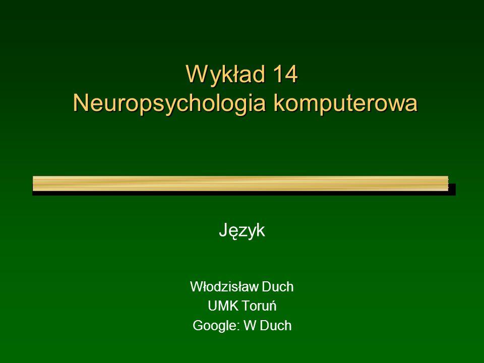 Wykład 14 Neuropsychologia komputerowa