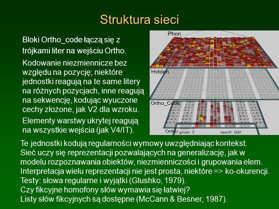 Struktura sieci Bloki Ortho_code łączą się z trójkami liter na wejściu Ortho.