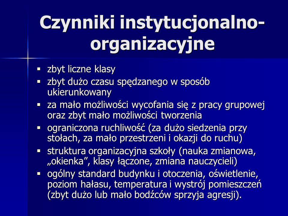 Czynniki instytucjonalno- organizacyjne