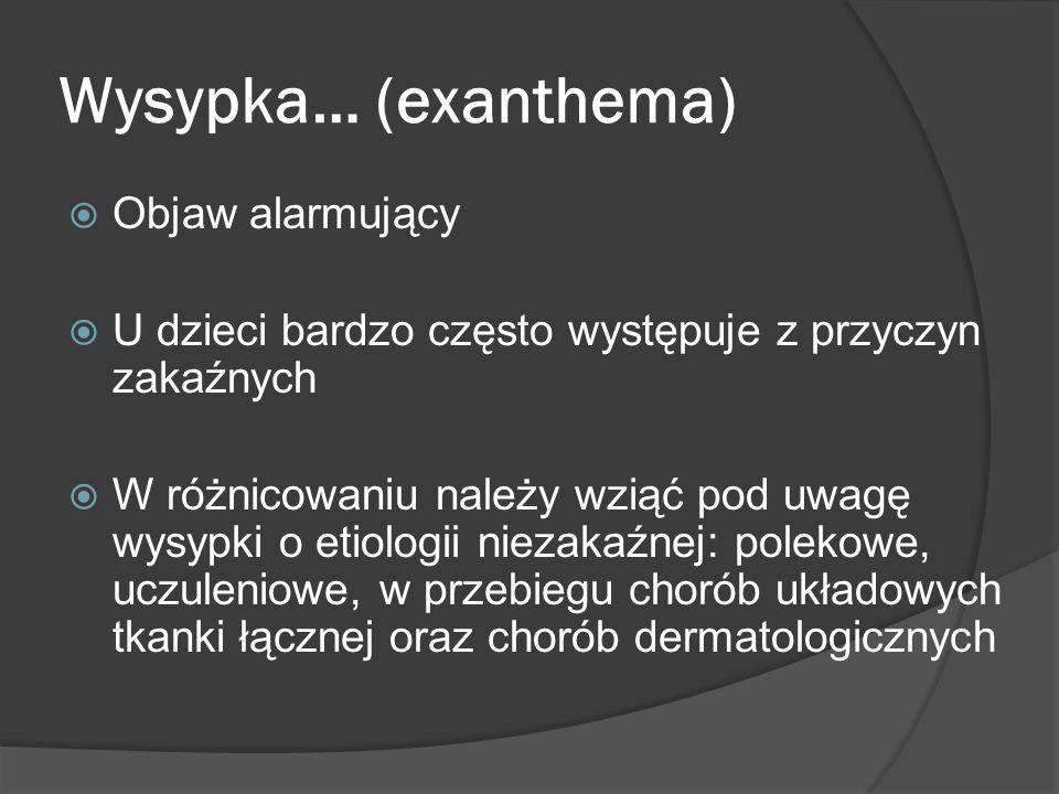Wysypka… (exanthema) Objaw alarmujący