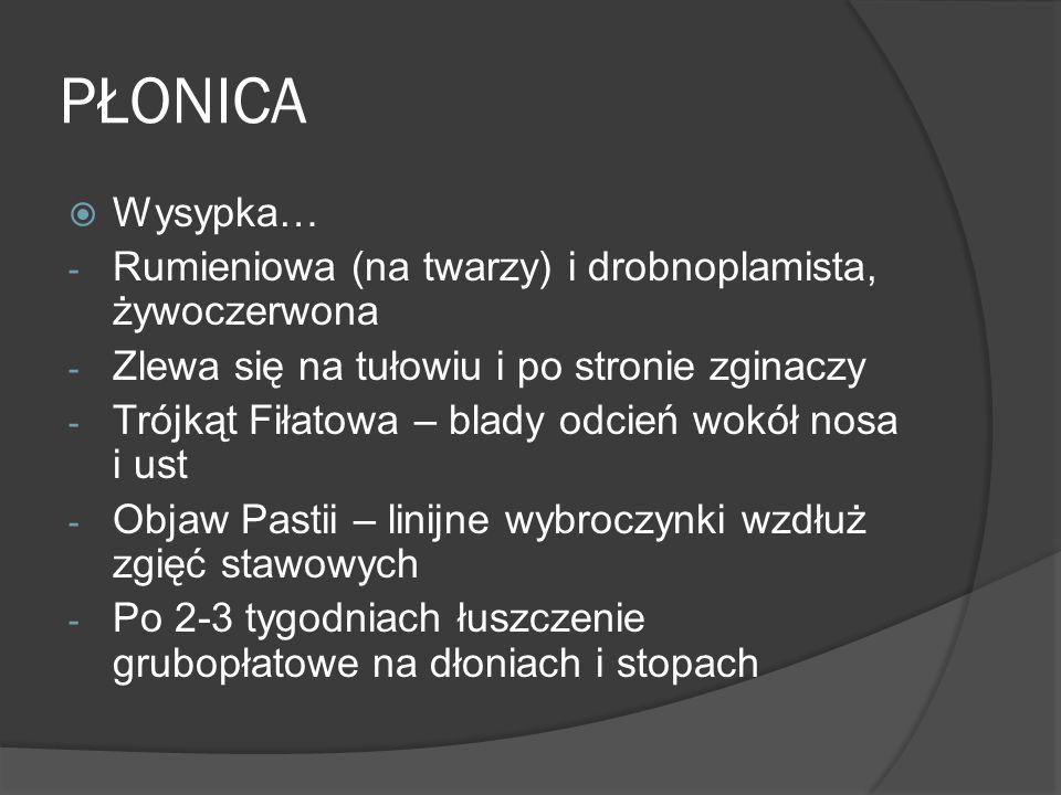PŁONICA Wysypka… Rumieniowa (na twarzy) i drobnoplamista, żywoczerwona