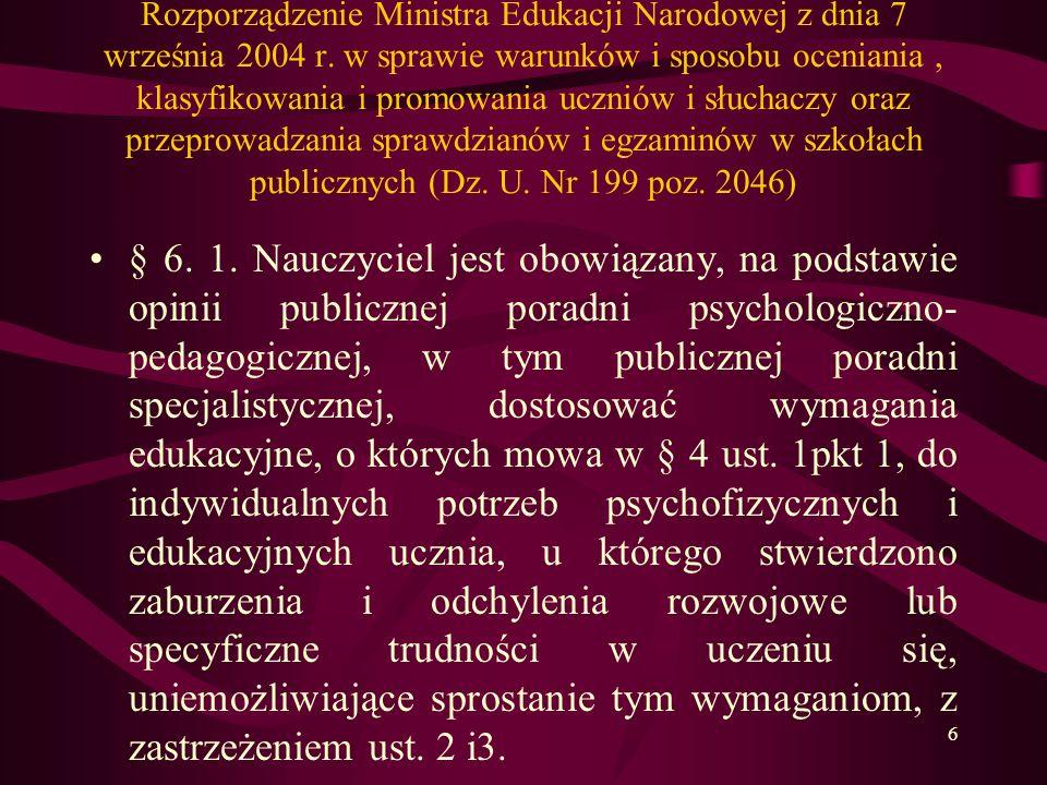 Rozporządzenie Ministra Edukacji Narodowej z dnia 7 września 2004 r