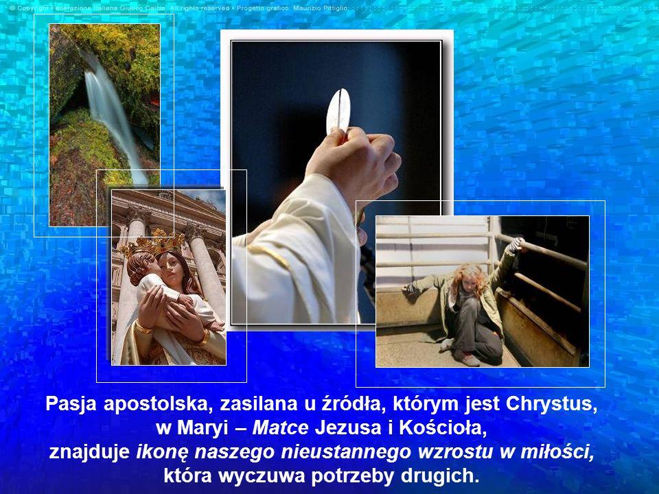 Pasja apostolska, zasilana u źródła, którym jest Chrystus, w Maryi – Matce Jezusa i Kościoła, znajduje ikonę naszego nieustannego wzrostu w miłości, która wyczuwa potrzeby drugich.