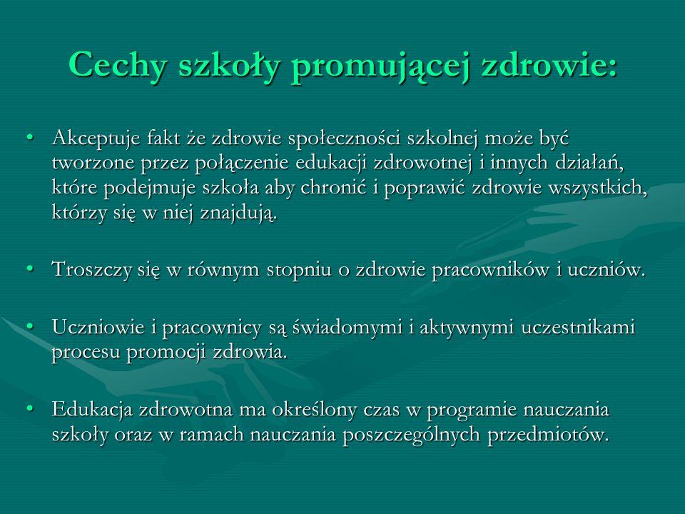 Cechy szkoły promującej zdrowie: