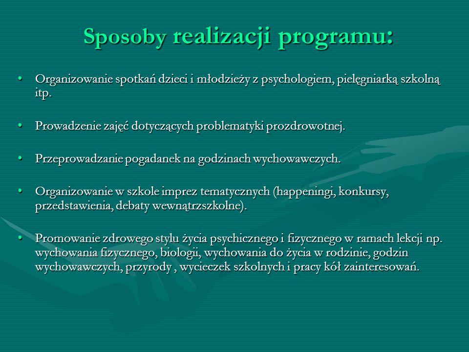 Sposoby realizacji programu:
