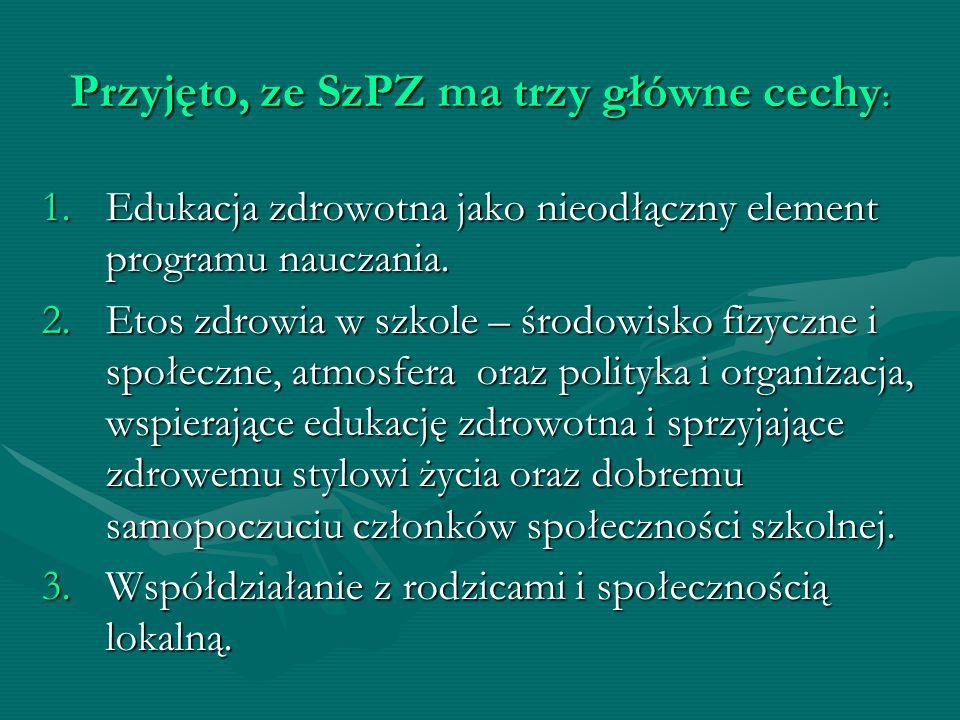 Przyjęto, ze SzPZ ma trzy główne cechy: