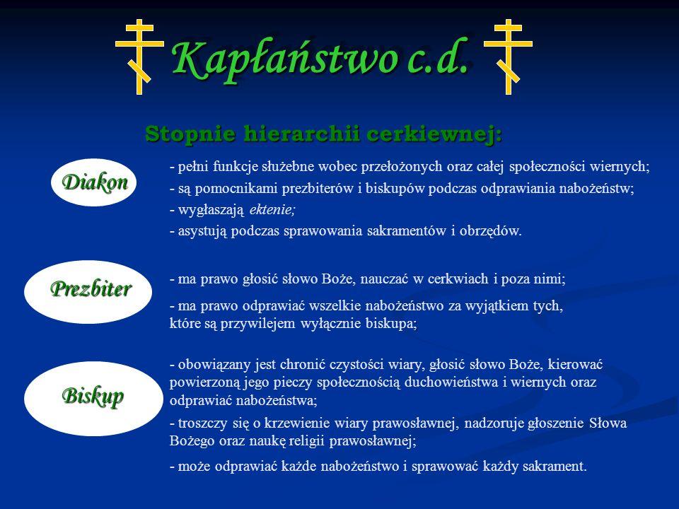 Stopnie hierarchii cerkiewnej: