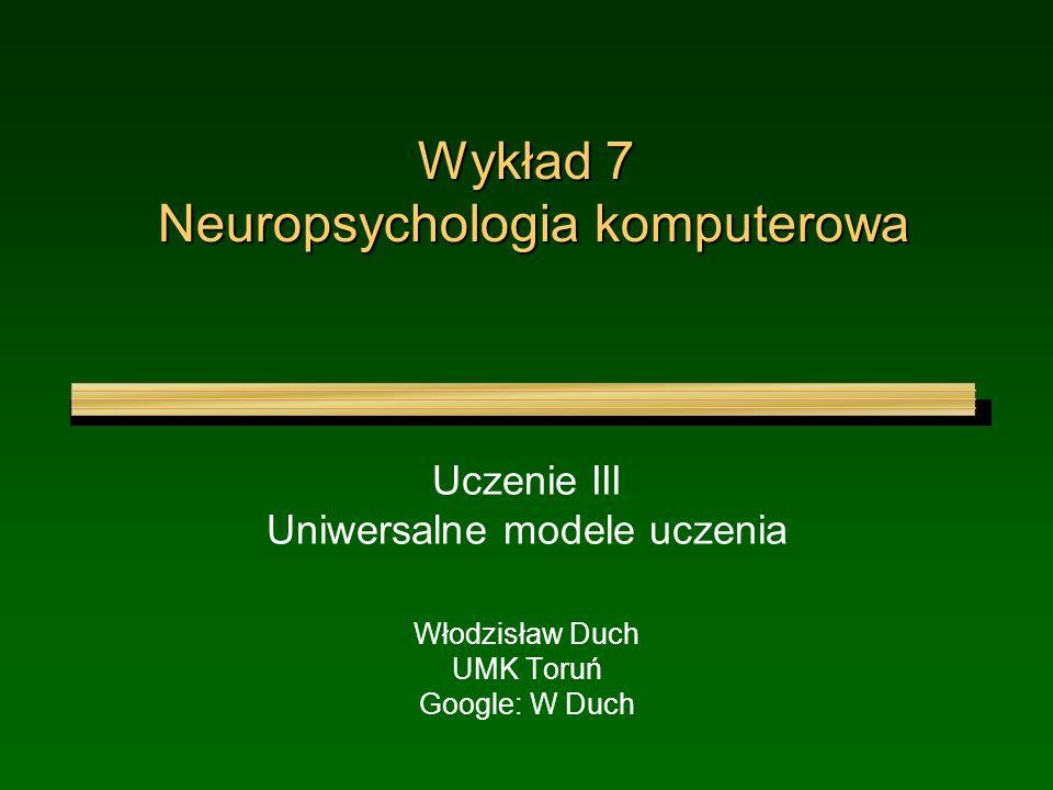 Wykład 7 Neuropsychologia komputerowa