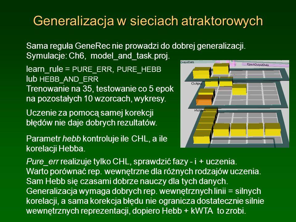 Generalizacja w sieciach atraktorowych