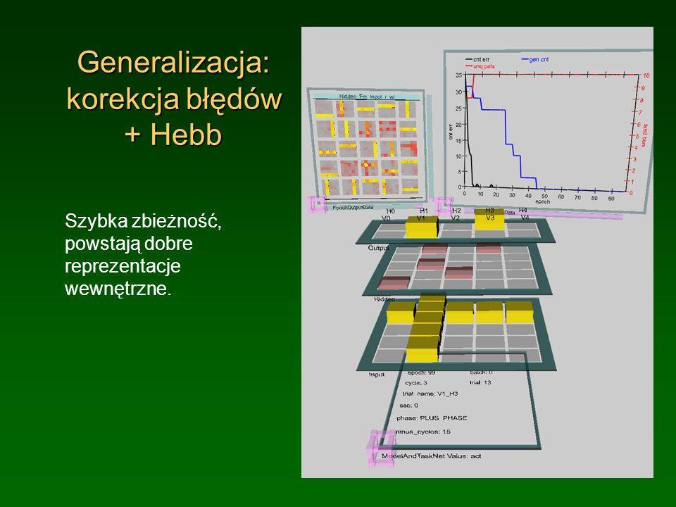 Generalizacja: korekcja błędów + Hebb