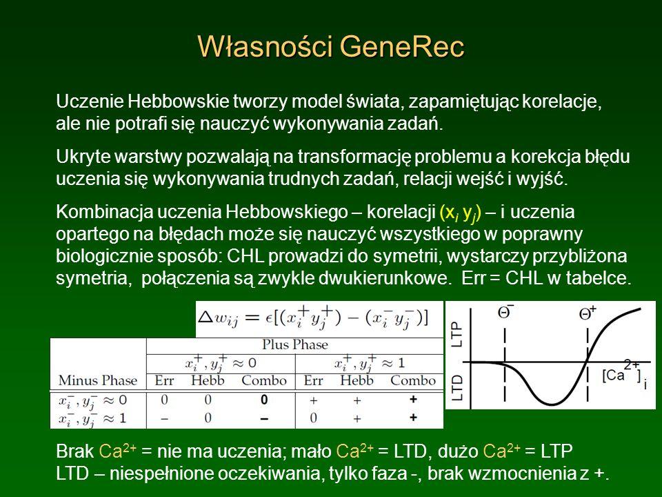 Własności GeneRec Uczenie Hebbowskie tworzy model świata, zapamiętując korelacje, ale nie potrafi się nauczyć wykonywania zadań.
