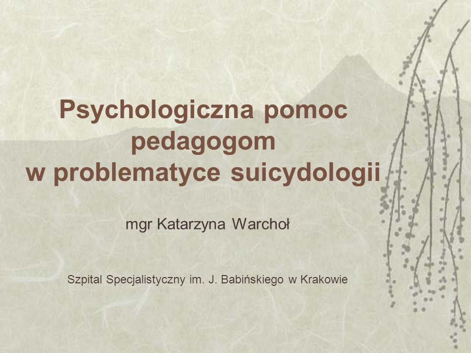 Psychologiczna pomoc pedagogom w problematyce suicydologii