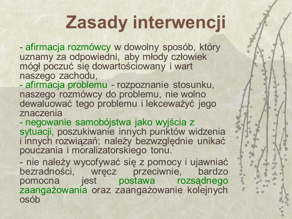 Zasady interwencji