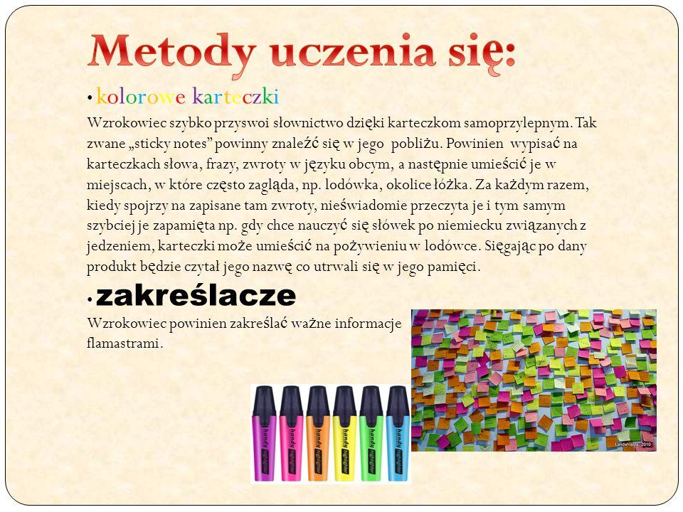 Metody uczenia się: kolorowe karteczki