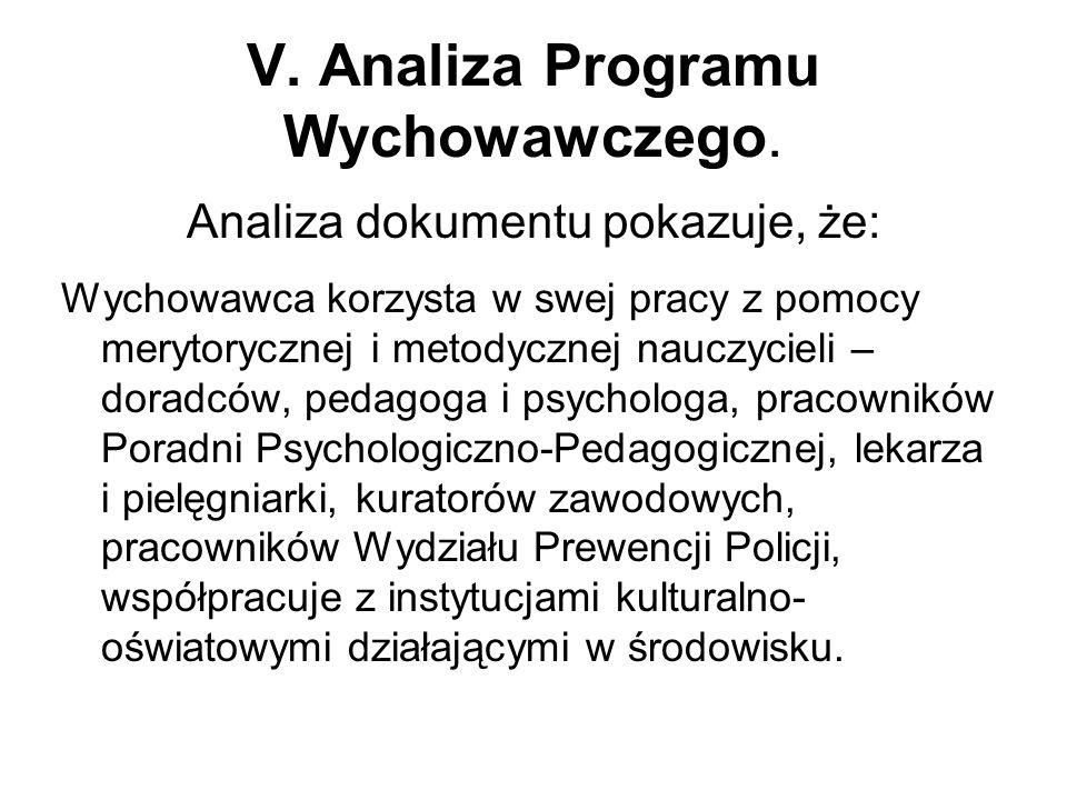 V. Analiza Programu Wychowawczego.