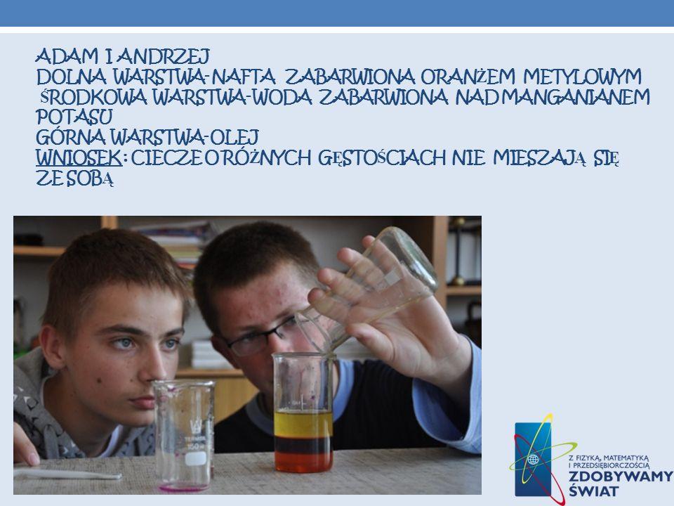 Adam i andrzej dolna warstwa- nafta zabarwiona oranżem metylowym środkowa warstwa- woda zabarwiona NAD MANGANIANEM POTASU GÓRNA WARSTWA- OLEJ wniosek : ciecze o różnych gęstościach nie mieszają się ze sobą