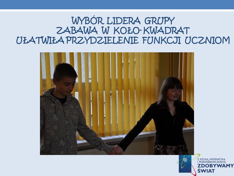 Wybór lidera grupy Zabawa w koło- kwadrat ułatwiła przydzielenie funkcji uczniom