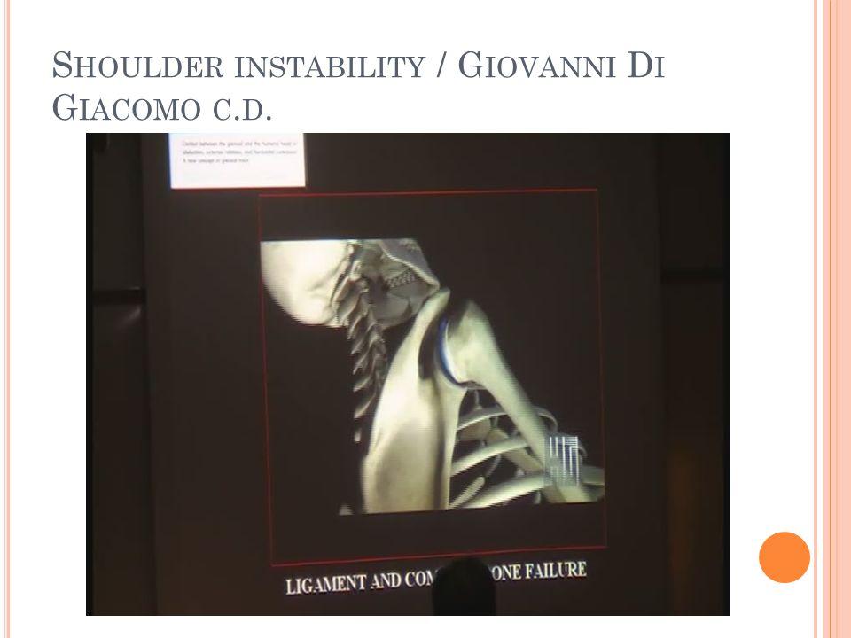 Shoulder instability / Giovanni Di Giacomo c.d.
