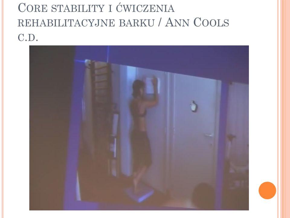 Core stability i ćwiczenia rehabilitacyjne barku / Ann Cools c.d.
