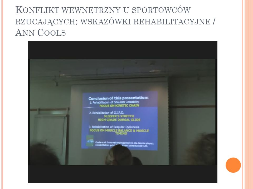 Konflikt wewnętrzny u sportowców rzucających: wskazówki rehabilitacyjne / Ann Cools