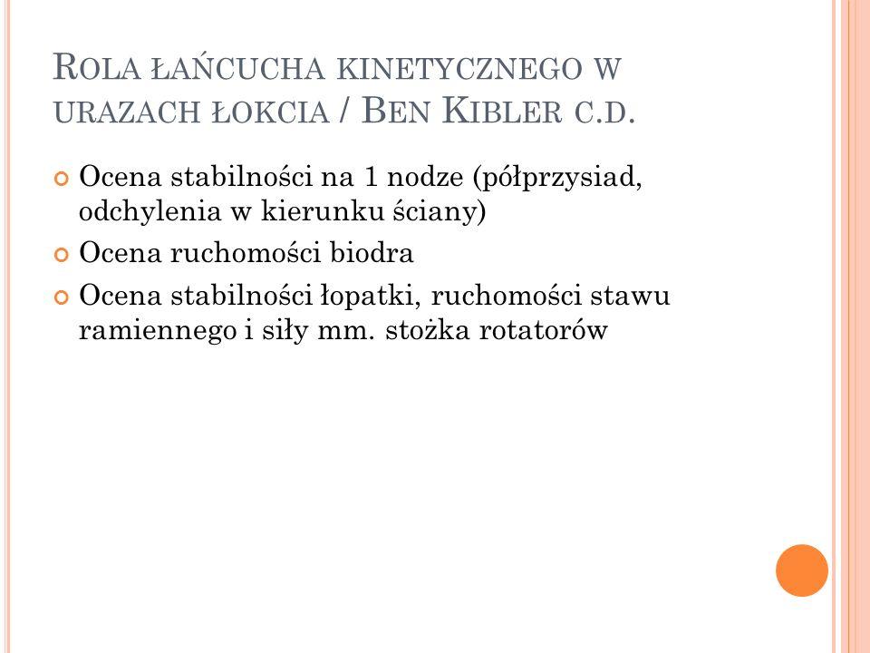Rola łańcucha kinetycznego w urazach łokcia / Ben Kibler c.d.