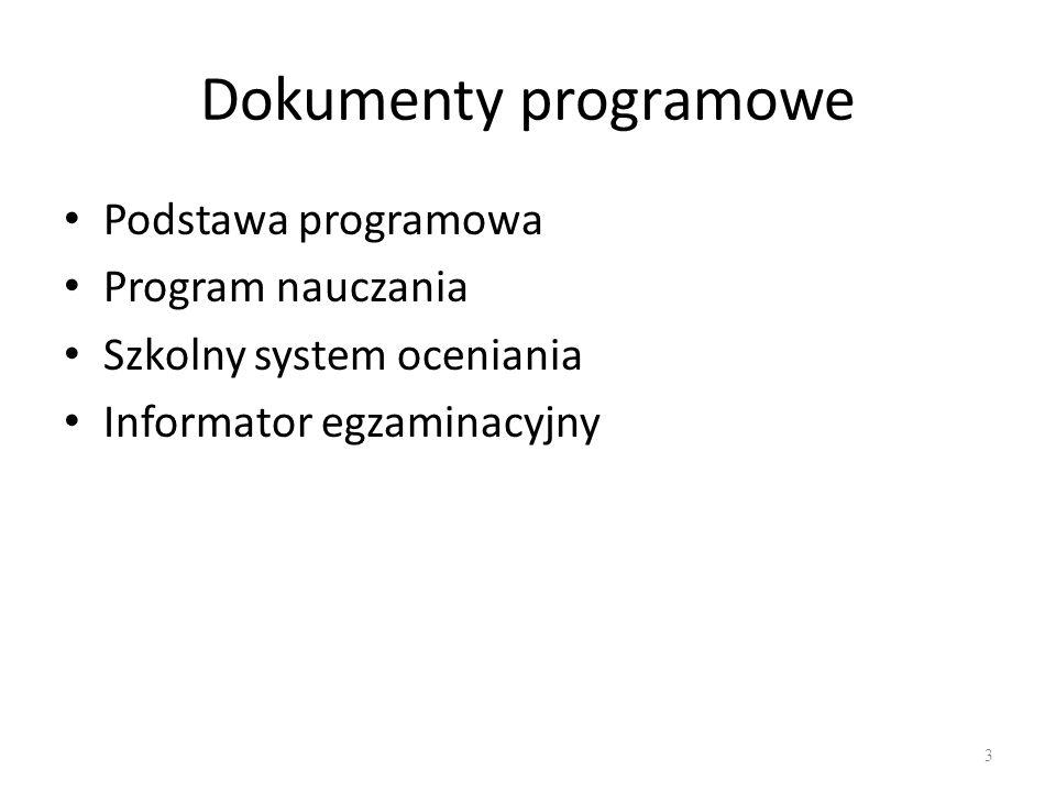 Dokumenty programowe Podstawa programowa Program nauczania