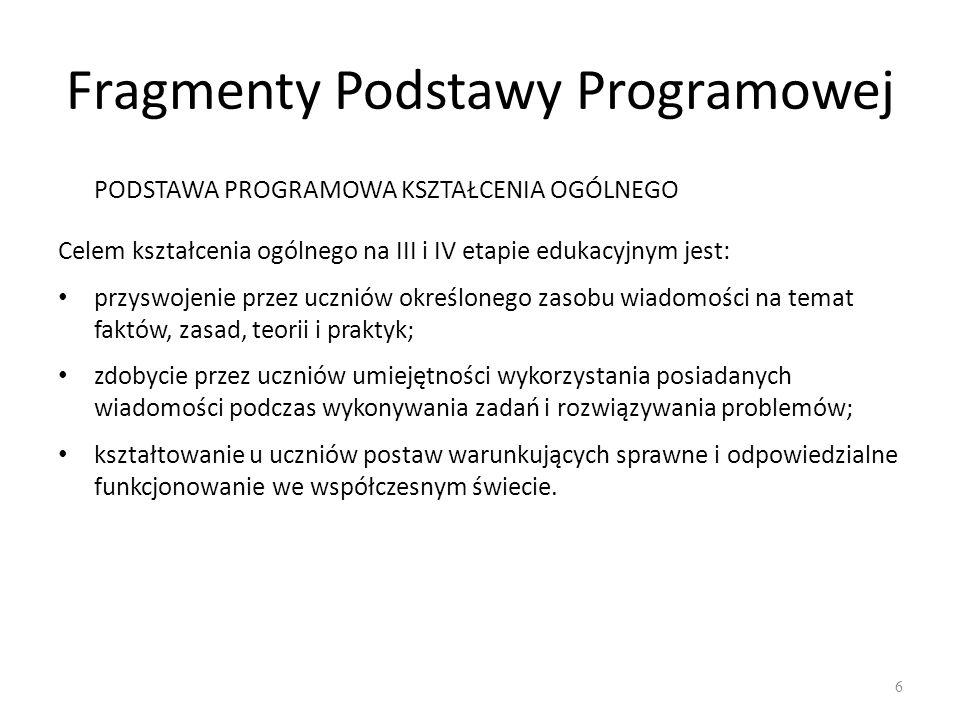 Fragmenty Podstawy Programowej