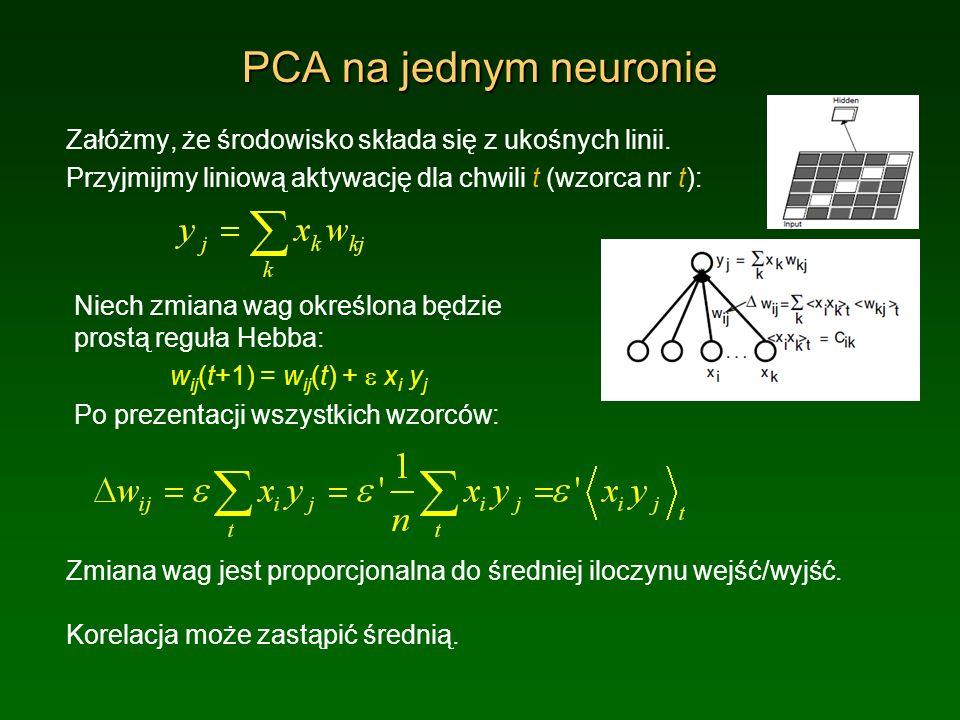 PCA na jednym neuronie Załóżmy, że środowisko składa się z ukośnych linii. Przyjmijmy liniową aktywację dla chwili t (wzorca nr t):