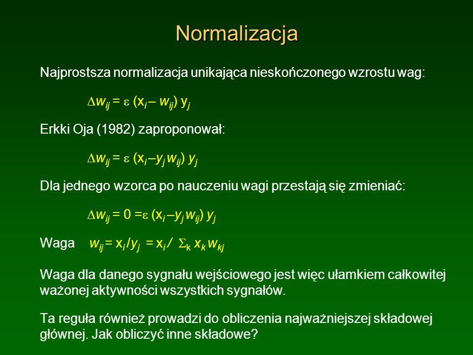 NormalizacjaNajprostsza normalizacja unikająca nieskończonego wzrostu wag: Dwij = e (xi – wij) yj. Erkki Oja (1982) zaproponował: