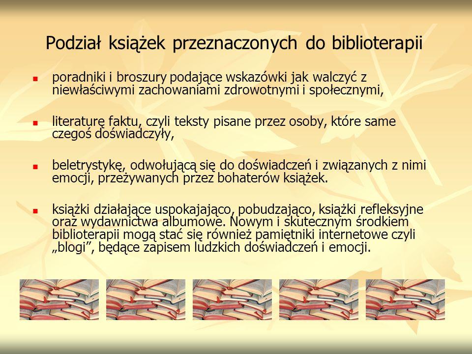 Podział książek przeznaczonych do biblioterapii