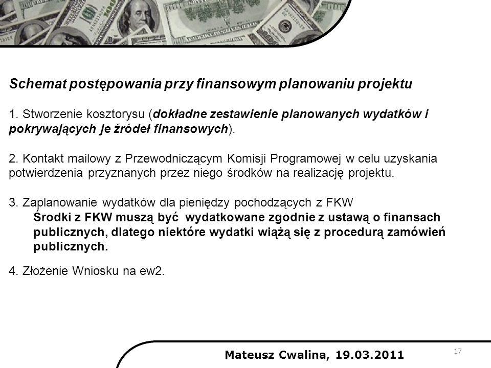 Schemat postępowania przy finansowym planowaniu projektu 1