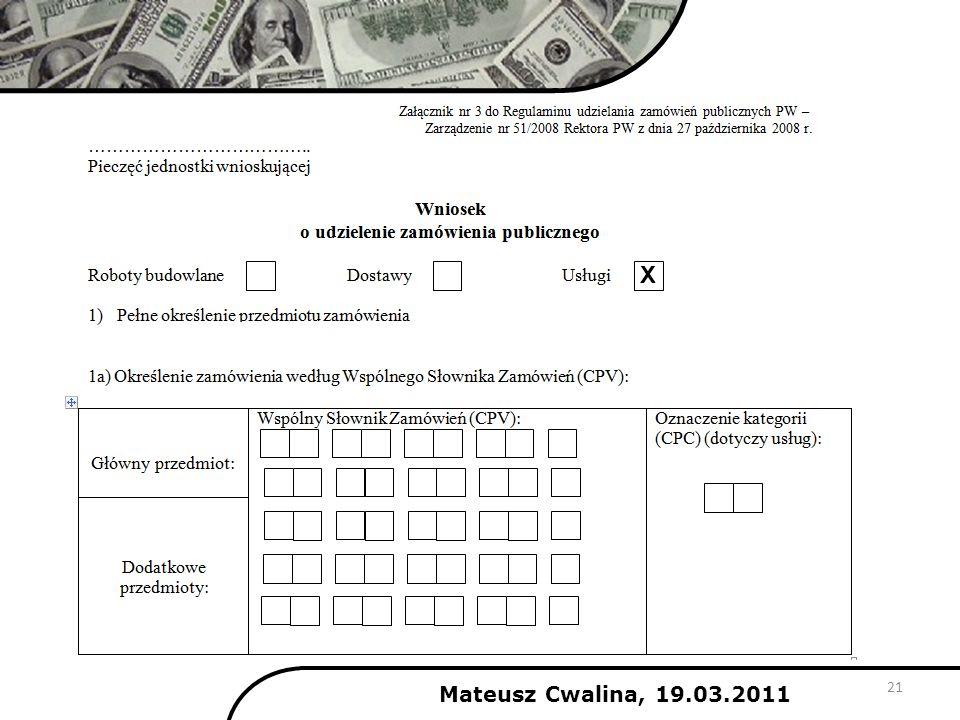 X Mateusz Cwalina, 19.03.2011