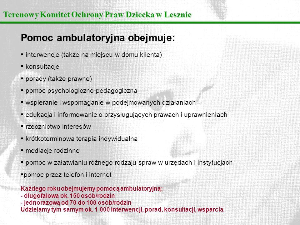 Pomoc ambulatoryjna obejmuje: