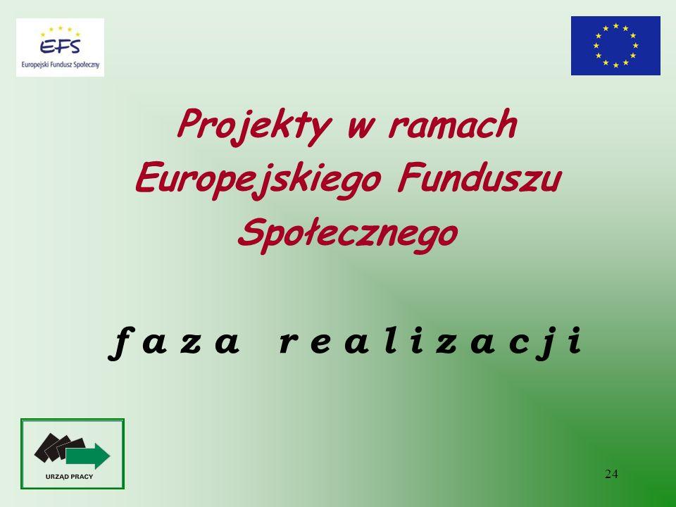 Projekty w ramach Europejskiego Funduszu Społecznego f a z a r e a l i z a c j i
