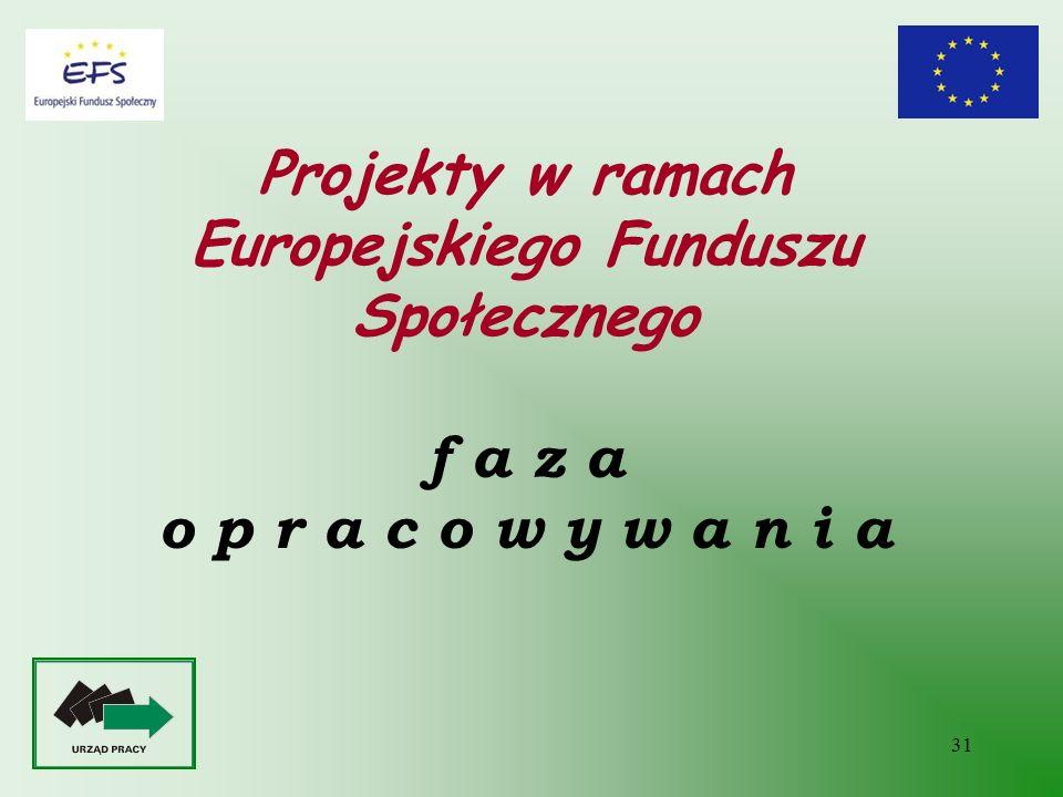 Projekty w ramach Europejskiego Funduszu Społecznego f a z a o p r a c o w y w a n i a