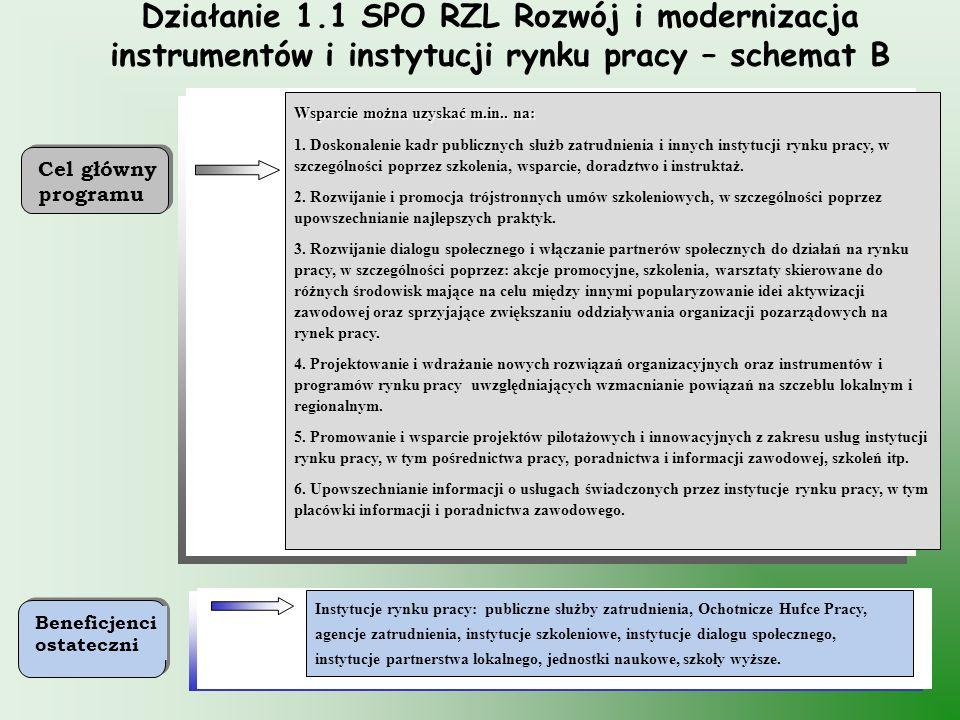 Działanie 1.1 SPO RZL Rozwój i modernizacja instrumentów i instytucji rynku pracy – schemat B