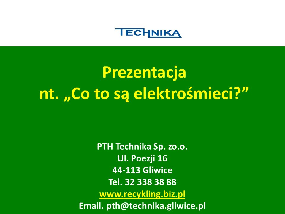 """Prezentacja nt. """"Co to są elektrośmieci"""
