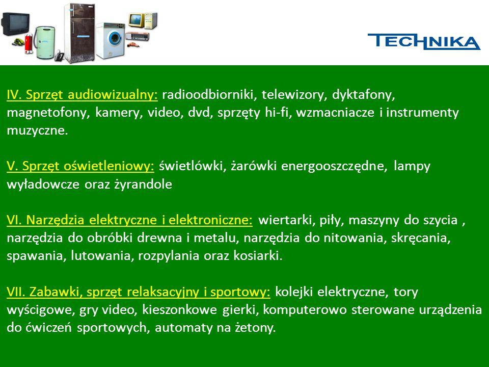IV. Sprzęt audiowizualny: radioodbiorniki, telewizory, dyktafony, magnetofony, kamery, video, dvd, sprzęty hi-fi, wzmacniacze i instrumenty muzyczne.
