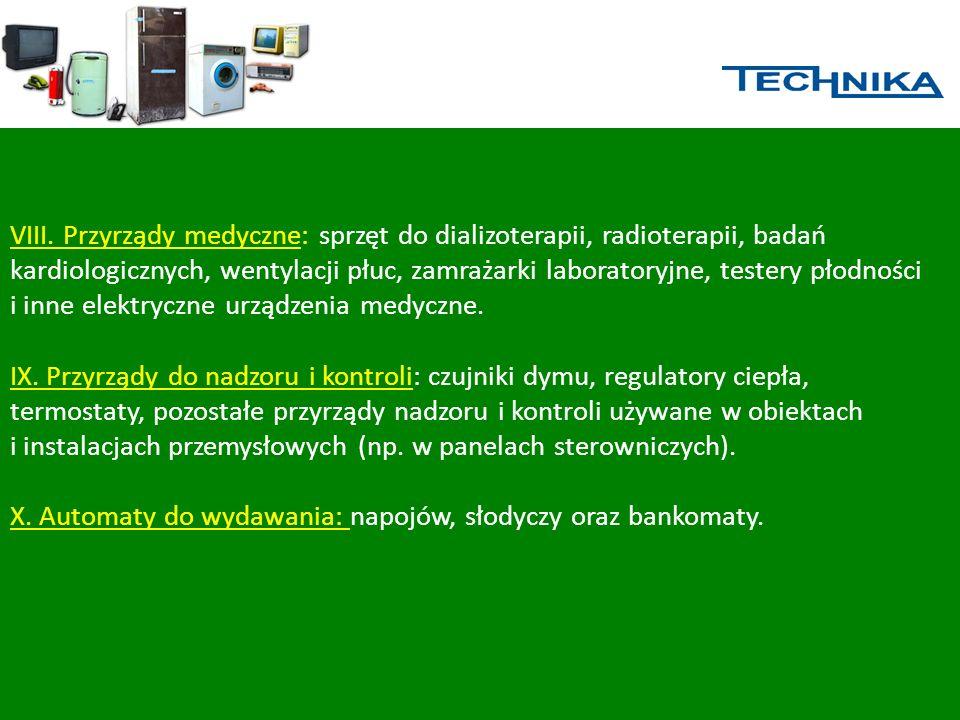 VIII. Przyrządy medyczne: sprzęt do dializoterapii, radioterapii, badań kardiologicznych, wentylacji płuc, zamrażarki laboratoryjne, testery płodności i inne elektryczne urządzenia medyczne.