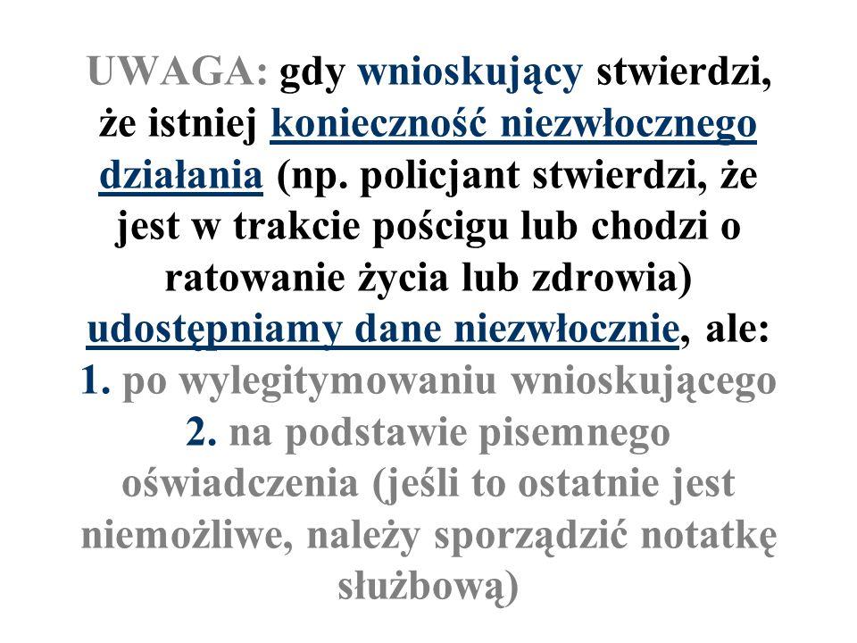 UWAGA: gdy wnioskujący stwierdzi, że istniej konieczność niezwłocznego działania (np.