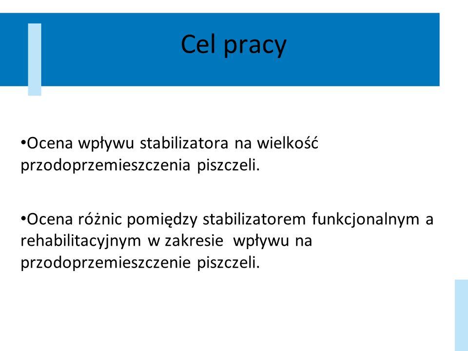 Cel pracy Ocena wpływu stabilizatora na wielkość przodoprzemieszczenia piszczeli.