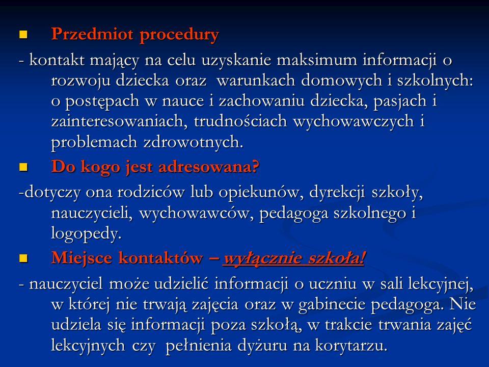Przedmiot procedury
