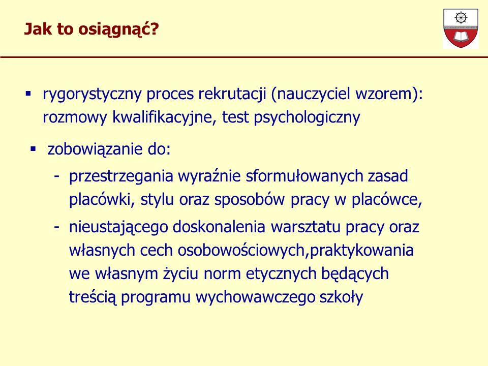 Jak to osiągnąć rygorystyczny proces rekrutacji (nauczyciel wzorem): rozmowy kwalifikacyjne, test psychologiczny.