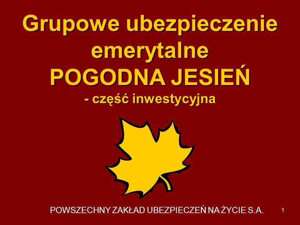 Grupowe ubezpieczenie emerytalne POGODNA JESIEŃ - część inwestycyjna