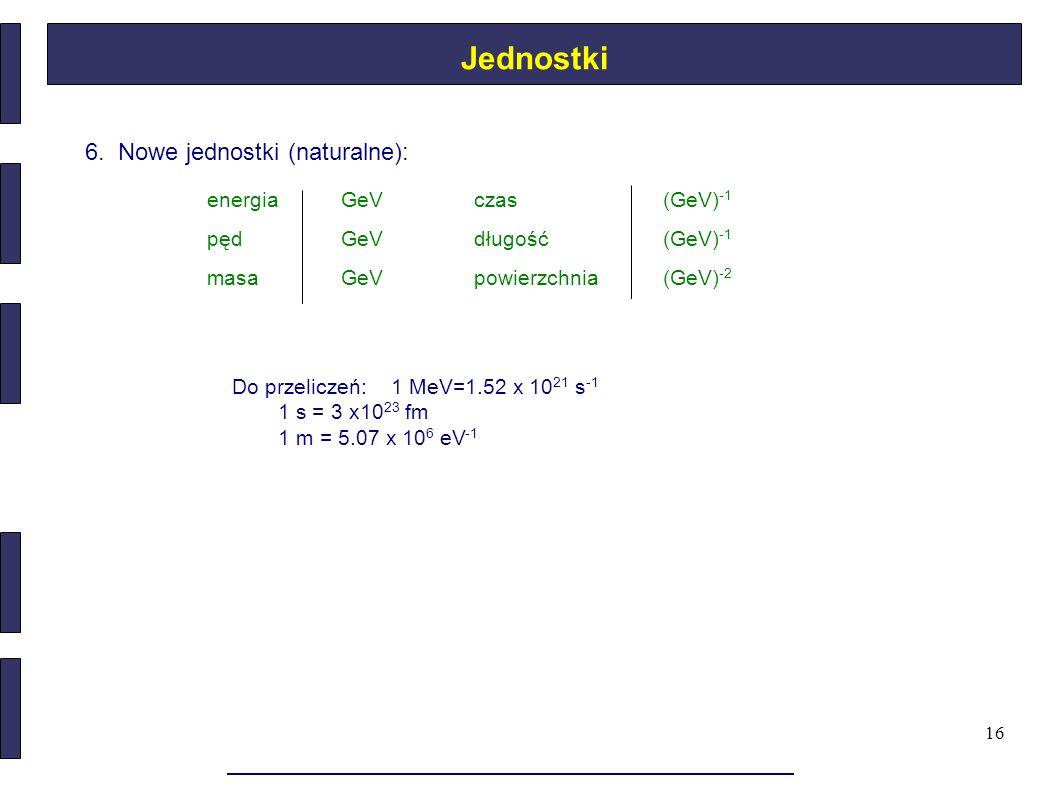 Jednostki 6. Nowe jednostki (naturalne): energia GeV czas (GeV)-1 pęd