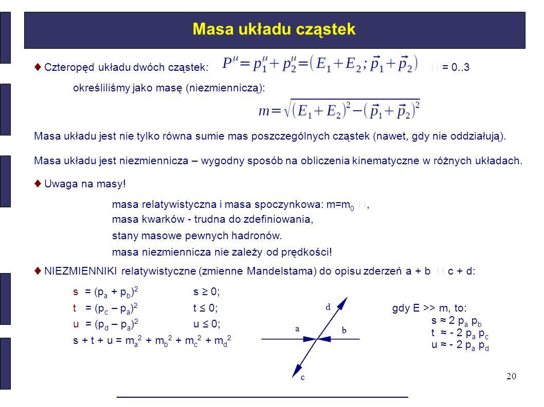 Masa układu cząstek ♦ Czteropęd układu dwóch cząstek:  = 0..3