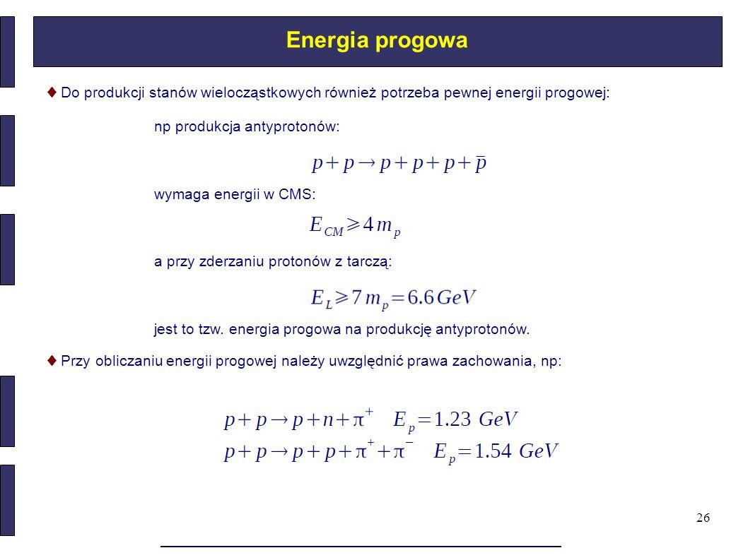 Energia progowa ♦ Do produkcji stanów wielocząstkowych również potrzeba pewnej energii progowej: np produkcja antyprotonów: