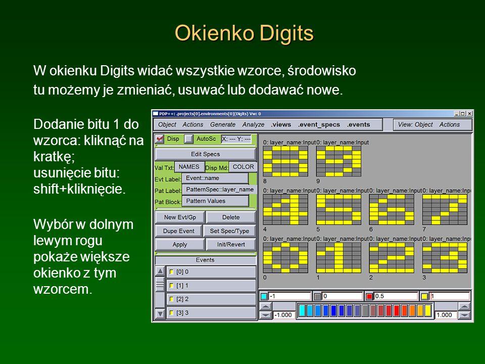 Okienko Digits W okienku Digits widać wszystkie wzorce, środowisko
